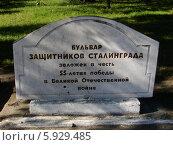 Купить «Памятная плита на бульваре защитников Сталинграда в городе Барнауле», фото № 5929485, снято 16 мая 2014 г. (c) алексей прозоров / Фотобанк Лори