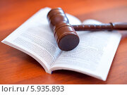 Купить «Судейский молоток на раскрытом Уголовном кодексе», эксклюзивное фото № 5935893, снято 23 мая 2014 г. (c) Александр Тарасенков / Фотобанк Лори