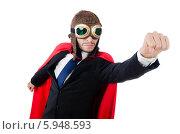 Купить «Бизнесмен в красном плаще и очках», фото № 5948593, снято 30 декабря 2013 г. (c) Elnur / Фотобанк Лори