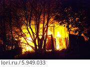 Купить «Ночь. Пожар на дачных участках. Горит дачный домик», фото № 5949033, снято 10 мая 2014 г. (c) Зобков Георгий / Фотобанк Лори