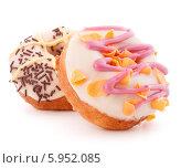 Купить «Пончики с глазурью на белом фоне», фото № 5952085, снято 5 марта 2014 г. (c) Natalja Stotika / Фотобанк Лори