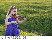 Купить «Красивая девочка  играет на скрипке», фото № 5953109, снято 8 мая 2014 г. (c) Майя Крученкова / Фотобанк Лори
