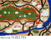 Купить «Детский рисунок. Город Москва, Московский Кремль и Москва-река, вид сверху», фото № 5953753, снято 21 марта 2014 г. (c) Анна Кудрявцева / Фотобанк Лори