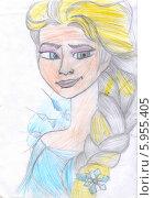 Купить «Королева Эльза, детский рисунок цветными карандашами», эксклюзивная иллюстрация № 5955405 (c) Emelinna / Фотобанк Лори