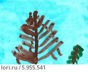 """Купить «Детский рисунок """"деревья зимой""""», эксклюзивная иллюстрация № 5955541 (c) Куликова Вероника / Фотобанк Лори"""