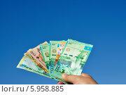 Купить «Рука, держащая деньги на фоне неба», фото № 5958885, снято 7 мая 2014 г. (c) Александр Тараканов / Фотобанк Лори