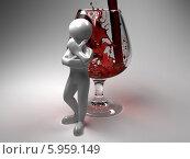 Купить «Белый человечек опирается на бокал с красным вином», иллюстрация № 5959149 (c) Maksym Yemelyanov / Фотобанк Лори