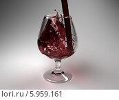 Купить «Красное вино льется в бокал на сером фоне», иллюстрация № 5959161 (c) Maksym Yemelyanov / Фотобанк Лори