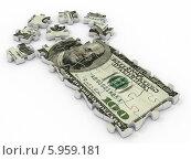 Купить «Стодолларовая купюра на пазле», иллюстрация № 5959181 (c) Maksym Yemelyanov / Фотобанк Лори