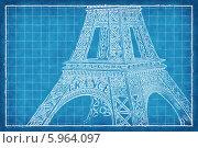 Купить «Изображение Эйфелевой башни на голубом клетчатом фоне», иллюстрация № 5964097 (c) megastocker / Фотобанк Лори