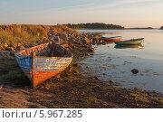 Купить «Соловецкое побережье с лодками летним солнечным вечером», фото № 5967285, снято 4 августа 2013 г. (c) Горшков Игорь / Фотобанк Лори