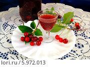 Купить «Рюмка с вишневой наливкой», эксклюзивное фото № 5972013, снято 2 июня 2014 г. (c) Blekcat / Фотобанк Лори
