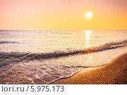 Купить «Песчаный пляж во время заката», фото № 5975173, снято 6 августа 2013 г. (c) g.bruev / Фотобанк Лори