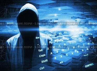 Купить «Хакер в капюшоне на синем цифровом фоне», фото № 5980461, снято 20 февраля 2018 г. (c) EugeneSergeev / Фотобанк Лори