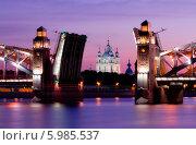 Большеохтинский мост и Смольный собор белой ночью (2014 год). Стоковое фото, фотограф Алексей Марголин / Фотобанк Лори
