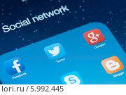 Купить «Иконки популярных социальных сетей на экране», фото № 5992445, снято 9 мая 2014 г. (c) Александр Лычагин / Фотобанк Лори