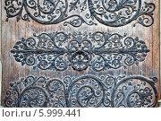 Купить «Кованное украшение входной двери Собора Парижской Богоматери», фото № 5999441, снято 30 апреля 2014 г. (c) Parmenov Pavel / Фотобанк Лори