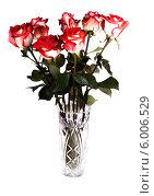 Купить «Букет  роз  в хрустальной вазе на белом фоне», фото № 6006529, снято 9 июня 2013 г. (c) Литвяк Игорь / Фотобанк Лори