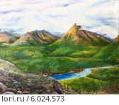 """Купить «Картина """"Сибирь. Горы""""», иллюстрация № 6024573 (c) Олег Хархан / Фотобанк Лори"""