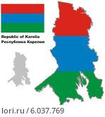 Купить «Контур карты Карелии с флагом», иллюстрация № 6037769 (c) VectorImages / Фотобанк Лори