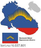 Купить «Контур карты Мурманской области с флагом», иллюстрация № 6037801 (c) VectorImages / Фотобанк Лори