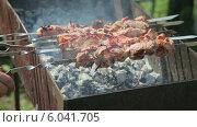 Купить «Сочный шашлык жарится на мангале в солнечный день», видеоролик № 6041705, снято 20 июля 2019 г. (c) FotograFF / Фотобанк Лори