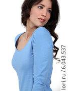Купить «Flirtatious woman», фото № 6043537, снято 21 марта 2011 г. (c) Phovoir Images / Фотобанк Лори