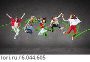 Купить «group of teenagers jumping», фото № 6044605, снято 14 ноября 2013 г. (c) Syda Productions / Фотобанк Лори