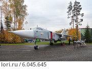 Купить «Сверхзвуковой фронтовой бомбардировщик Су-24 с крылом изменяемой стреловидности на полигоне Старатель Нижнетагильского института испытания металлов (НТИИМ)», фото № 6045645, снято 26 сентября 2013 г. (c) Игорь Долгов / Фотобанк Лори