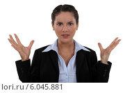Купить «Frustrated businesswoman», фото № 6045881, снято 21 апреля 2011 г. (c) Phovoir Images / Фотобанк Лори