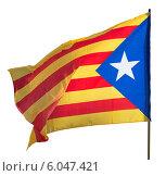 Flying Catalonia flag. Isolated over white. Стоковое фото, фотограф Яков Филимонов / Фотобанк Лори