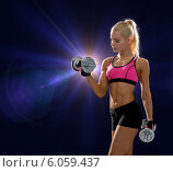 Купить «sporty woman with heavy steel dumbbells», фото № 6059437, снято 8 мая 2014 г. (c) Syda Productions / Фотобанк Лори