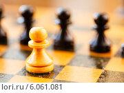 Купить «Белая и черная шахматная пешки на шахматной доске», фото № 6061081, снято 2 февраля 2014 г. (c) g.bruev / Фотобанк Лори