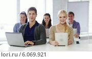 Купить «Students in computer class showing thumbs up», видеоролик № 6069921, снято 10 ноября 2013 г. (c) Syda Productions / Фотобанк Лори