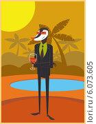 Стильный барсук в костюме держит бокал вина на фоне пальм. Стоковая иллюстрация, иллюстратор Константин Костенко / Фотобанк Лори