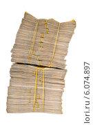 Купить «Stack of money isolated on the white», фото № 6074897, снято 13 января 2014 г. (c) Elnur / Фотобанк Лори