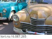 Купить «Капоты отреставрированных ретроавтомобилей ГАЗ», фото № 6087265, снято 9 мая 2014 г. (c) Левина Татьяна / Фотобанк Лори