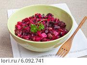Купить «Винегрет. Салат из варёных овощей. Традиционная в России еда в пост, и для похудения», эксклюзивное фото № 6092741, снято 1 июля 2014 г. (c) Lora / Фотобанк Лори