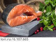 Купить «Норвежская форель - красная рыба, листья и ягоды брусники», фото № 6107665, снято 6 июля 2014 г. (c) Леонид Штандель / Фотобанк Лори