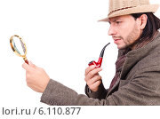 Купить «Young detective with pipe and magnifying glass», фото № 6110877, снято 26 октября 2013 г. (c) Elnur / Фотобанк Лори