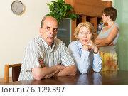 Купить «Mature parents with daughter having conflict», фото № 6129397, снято 17 июня 2014 г. (c) Яков Филимонов / Фотобанк Лори
