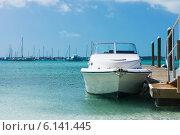 Купить «white boat at blue sea», фото № 6141445, снято 11 февраля 2013 г. (c) Syda Productions / Фотобанк Лори