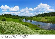 Купить «Река Покша, панорамный вид», фото № 6144697, снято 19 мая 2014 г. (c) ElenArt / Фотобанк Лори