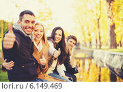 Купить «group of friends having fun in autumn park», фото № 6149469, снято 5 октября 2013 г. (c) Syda Productions / Фотобанк Лори