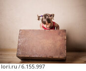 Купить «little girl with old suitcase indoor», фото № 6155997, снято 8 июня 2014 г. (c) Майя Крученкова / Фотобанк Лори