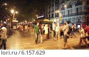 La Rambla in evening. Barcelona (2014 год). Редакционное видео, видеограф Яков Филимонов / Фотобанк Лори