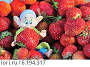 Купить «Радость  гнома  от  большого  урожая  клубники», фото № 6194317, снято 26 июня 2014 г. (c) Сергей Громогласов / Фотобанк Лори
