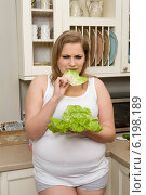 Plump girl in the kitchen. Стоковое фото, агентство BE&W Photo / Фотобанк Лори