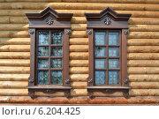 Купить «Витражные окна в деревянном срубе», фото № 6204425, снято 21 июня 2014 г. (c) александр афанасьев / Фотобанк Лори