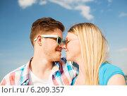 Купить «smiling couple having fun outdoors», фото № 6209357, снято 7 июля 2014 г. (c) Syda Productions / Фотобанк Лори